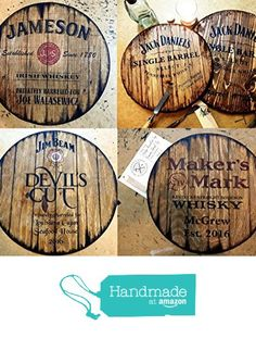 Personalized decorative sign - whiskey barrel top, Rustic wall decor| Gifts for Men| Business Gift| Gifts for Dad| Hand-painted liquor artwork and your message on a distressed wood plaque from Woodcraft City https://smile.amazon.com/dp/B016XQKPR2/ref=hnd_sw_r_pi_dp_EwidzbD76WZKH #handmadeatamazon