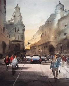 Ion Campineanu Street, Bucharest, watercolor