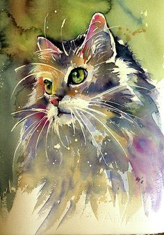 Beautiful cat painted in watercolor.