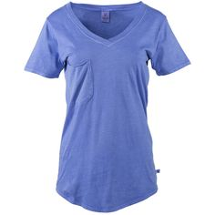 Venley Royal Pigment Molly Pocket V-Neck Tee ($15) ❤ liked on Polyvore featuring tops, t-shirts, v neck pocket tee, blue tee, sport tee, blue v neck t shirt and pocket tees