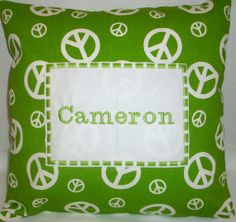 Personalized Pillow in Green and White Peace Signs inches Personalized Pillows, Peace Signs, Baby Gifts, Creative, Green, Handmade, Etsy, Hand Made, Custom Pillows