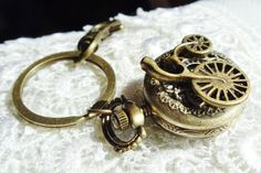 Bicycle pocket watch key chain, bronze bicycle pocket watch key chain