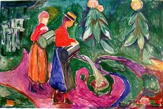 Girls Watering Flowers (The Freia Frieze IV) Edvard Munch - 1922