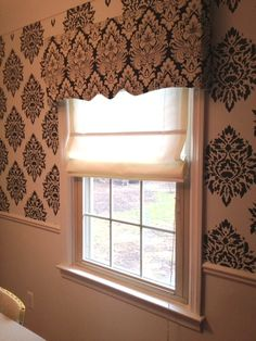 My DIY window treatments in my Damask dining room :) Thank you Pinterest!