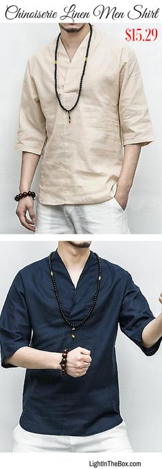 Simple, casual, comfortable men Chinoiserie linen shirt for daily wear. Find it in beige, navy blue, grey colours at just $15.29. Click to shop.