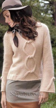 Вязаный пуловер с v-образным вырезом и расклешенными рукавами Crochet Cable, Crochet Tunic, Knitted Shawls, Cable Knitting, Knitting Designs, Knitting Patterns Free, Pull Mohair, Creative Knitting, Angora Sweater