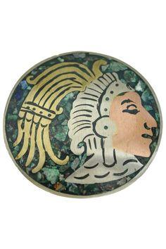 Vintage Silver Aztec Brooch Pendant Mexican Mixed Metals