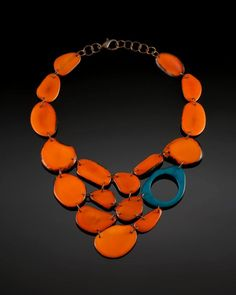 mixed color tagua nut bib necklace
