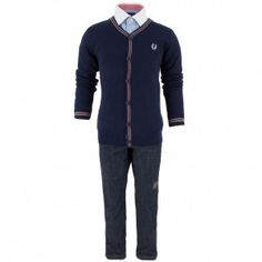 Fred Perry dark carbon navy cardigan