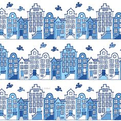 Dutch street blue and white (small) custom fabric by heleen_vd_thillart for sale on Spoonflower Blue Drawings, Amsterdam Houses, Charm Pack Quilts, Dutch House, Crazy Patchwork, Blue Pictures, Decoupage, Pottery Painting, Crochet Home