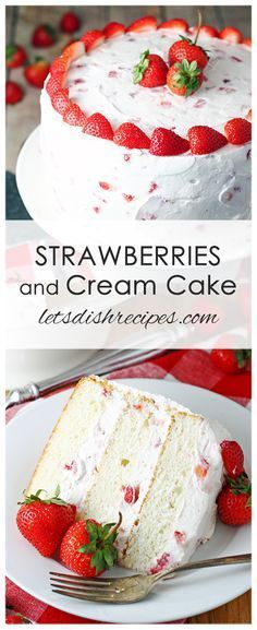 Strawberries and Cream Cake Recipe: Layers of moist white cake are sandwiched between a whipped cream cheese, strawberry studded frosting in this beautiful and delicious cake that's perfect for any spring celebration! recipes Strawberries and Cream Cake Brownie Desserts, Mini Desserts, Just Desserts, Delicious Desserts, Spring Desserts, Strawberry Cream Cakes, Strawberries And Cream, Strawberry Recipes, Moist Strawberry Shortcake Recipe