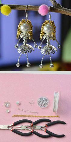 #Beebeecraft DIY doll #earrings, beautiful and creative.