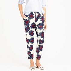 "This pant is perfect for days when you want to do dressy without the dress part. We embellished our favorite floral print of the season with sparkly sequins and finished the lightweight, drapey cotton voile with an elastic waist. So basically, you're guaranteed to feel like you're getting away with something. <ul><li>Sits at hips.</li><li>Relaxed through hip and thigh, with a tapered leg.</li><li>27"" inseam.</li><li>Cotton.</li><li>Elastic waist.</li><li>Front slant pockets, back welt ..."