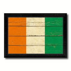 Cote D'Ivoire Country Flag Vintage Canvas Print with Black Picture Frame Home Decor Gifts Wall Art Decoration Artwork