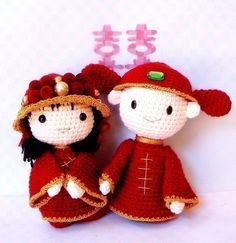 Amigurumi pattern  Chinese Wedding  2 Crochet di TGLDdoll su Etsy, $6.50