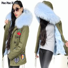 >> Click to Buy << Thick Raccoon Fur Collar Hood Trim Embroidery army Parka with 100%Real Fox Fur Lining Winter Fur Coat for Women #Affiliate
