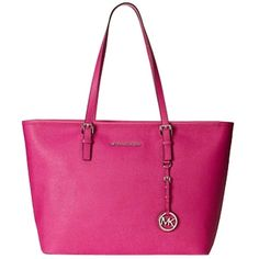 Pre-owned Michael Kors Michael Jet Set Travel Saffiano Leather Top-zip... ($258) ❤ liked on Polyvore featuring bags, fuschia, saffiano leather bag, travels bags, pre owned bags, logo bags and fuchsia bag