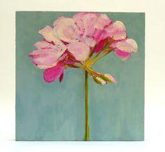 Flower Painting Pink Geranium small Original fine art Oil still life on wood panel wall art. $180.00, via Etsy.