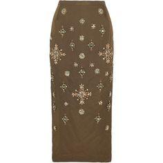 Biyan Niez embellished taffeta midi skirt (£1,440) ❤ liked on Polyvore featuring skirts, green, calf length skirts, green taffeta skirt, crinkle skirt, mid-calf skirt and floral print midi skirt