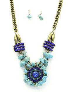 Island Gal Turquoise Statement Necklace Set · Liberty Life · Gold, Blue, Stone, Natural, Bead, Pretty, Fashion, Style, Summer, Beach, Boho, Bohemian