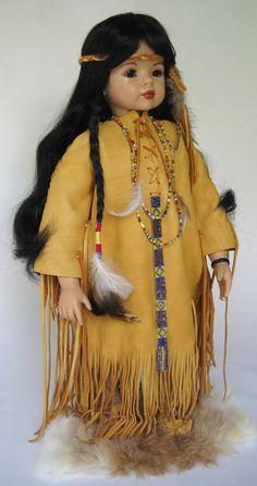 20 inch Native American Indian Porcelain Doll by DollsbyLaurel, $185.00