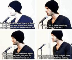 [SET OF GIFS] Jared convention panel #VanCon2013 // oh my god Tom's a ladies man
