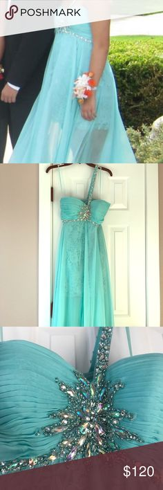 Turquoise Beaded Prom Gown Gorgeous turquoise, full length gown with beaded embellishments. Single shoulder. Inner dress is very short with floral lace, enveloped by long, sheer chiffon layer. Some markings on bottom and loose beads. Only worn once Dave & Johnny Dresses One Shoulder