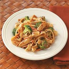 Contest-Winning Peanut Chicken Stir-Fry Recipe -Here's a colorful and comforting stir-fry with just a touch of heat from the crushed red pepper. Lisa suggests adding frozen stir-fry veggies to this satisfying dish, if you like.—Lisa Erickson, Ripon, Wisconsin