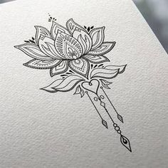 Image result for geometric lotus flower tattoo