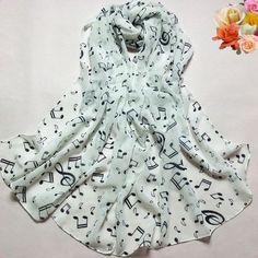 Hot Sales 2017 women scarf   Lady Musical Note Chiffon Neck Scarf Shawl Muffler Scarves bufandas luxury scarf woman