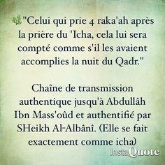 Bénéfice des 4 raka'ah après Icha.
