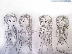 Elsa, Merida, Rapunzel, and Anna