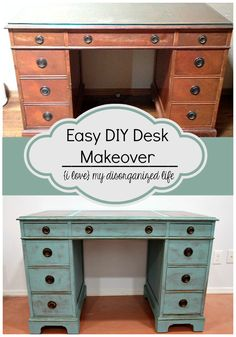 Making over furniture doesn't have to be hard. This easy DIY desk makeover is so simple- little to no prep- you won't want to do it any other way!