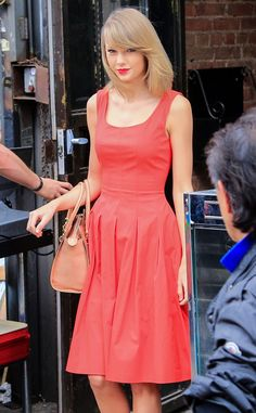 Red Hot from Taylor Swift's Street Style  The actress runs errands in NYC wearing an ultra-feminine red dress.