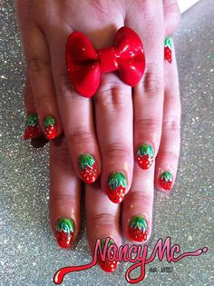 nancymcnails:    Loulou's strawberry nails! ::Fun Fact:: The first nail art I ever rocked was, neon pink strawberries - which my mum painted for me on my 6th birthday!