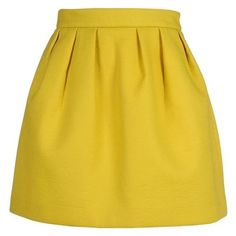 Maison Kitsuné Mini Skirt ❤ liked on Polyvore featuring skirts, mini skirts, maison kitsuné, zipper mini skirt, short pleated skirt, yellow pleated skirt and pleated skirt