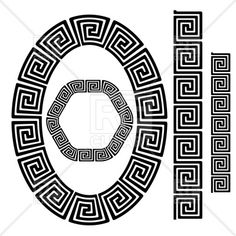 Set Of Greek Ornamenal Frames Isolated On White. Motifs Aztèques, Motif Arabesque, Greek Pattern, Illustration Vector, Clipart Design, Les Sentiments, Greek Art, Corner Designs, Gravure