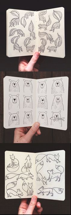 These drawings are so cute! And they show how you can draw different perspectives of the same animal :)