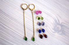Long chain gemstone earrings hoop leverback by BoutiqueBaltique