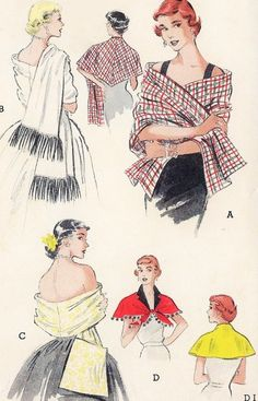 1950s Stylish Set of Reversible Stoles and Capelets Pattern Butterick 5699 Four Lovely Styles Daytime or Evening Wraps Vintage Sewing Pattern FACTORY FOLDED