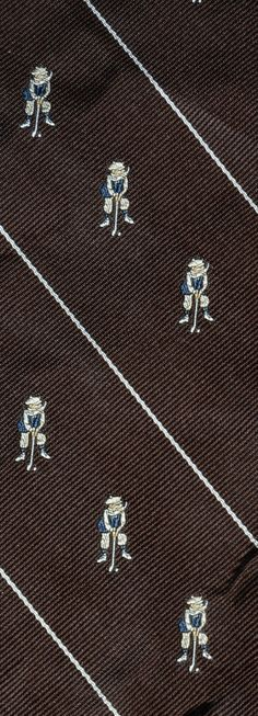 Brown and Navy Blue Golf 100% Silk Seven-Fold Tie by EricaWaddellClothing