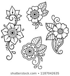 Set of Mehndi flower pattern for Henna drawing and tattoo. Decoration in ethnic oriental, Indian style. - Royalty-free Abstract stock vector Set of Mehndi flower pattern for Henna drawing and tattoo. Decoration in ethnic oriental, Indian style. Henna Tattoo Hand, Henna Tattoo Muster, Muster Tattoos, Mandala Tattoo, Cute Henna Tattoos, Henna Tattoo Stencils, Paisley Tattoos, Indian Tattoos, Art Tattoos