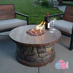 [gallery Fire table kit or fire pit table is used as heating unit that is usually placed outside. Patio becomes the perfect spot where you should put this kind of table. Fire Pit Table Top, Gas Fire Table, Deck Fire Pit, Fire Pit Backyard, Backyard Seating, Diy Propane Fire Pit, Gas Fire Pits, Fire Pit Coffee Table, Large Backyard
