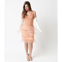 Unique Vintage Peach & Gold Beaded Gigi Chiffon Fringe Flapper Dress ($348) ❤ liked on Polyvore featuring dresses, peach, vintage 20s dresses, vintage beaded dress, 1920s flapper dress, flapper dress and vintage 1920s dresses