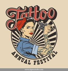 Vintage colorful tattoo festival label with pin up attractive woman in uniform and bandana holding wrench isolated illustration , Tattoo Blog, Tattoo Studio, Girl Power Tattoo, Tattoo Master, Pine Tree Tattoo, Tattoo Signs, Small Girl Tattoos, Pin Up Tattoos, Feminist Art