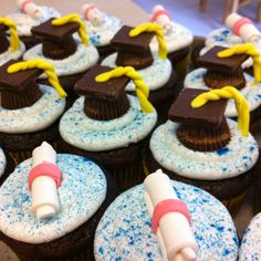 Graduation cupcakes- buttercream iced Bavarian cream filled devil's food pudding cake