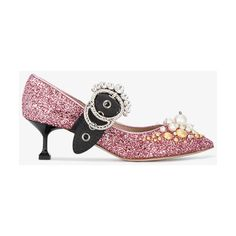 Miu Miu Pink Glitter Crystal Mary Jane 55 Heels (€960) ❤ liked on Polyvore featuring shoes, pumps, miu miu shoes, glitter mary janes, pink mary janes, mary jane pumps and mary-jane shoes