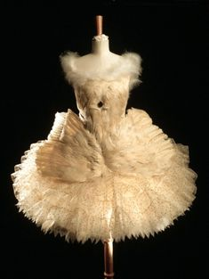 Anna Pavlova's Swan Lake ballet dress. This white net tutu sewn with sequins and trimmed with goose feathers was worn by Pavlova in her most famous role. First performed in 1907. The Swan was considered a landmark in ballet history. Pavlova performed the ballet many times during the 1920s. Costume designed by Leon Bakst.