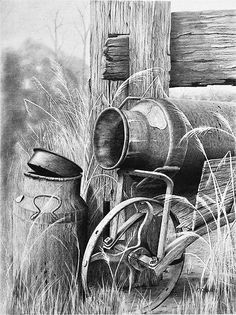 Pencil Art old cream cans Graphite Drawings, Pencil Drawings, Art Drawings, Horse Drawings, Animal Drawings, Graphite Art, Pencil Shading, Color Pencil Art, Charcoal Art