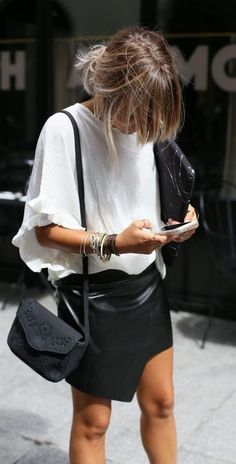 black + white. working outfit. street style. | @andwhatelse